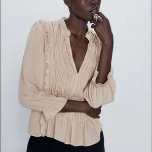 Zara Cream Ruffle Ruched Top NWT